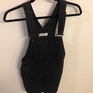 Free People black jean skirt overalls